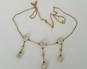 Beautiful Art Nouveau 9ct gold seed pearl and rock crystal necklace