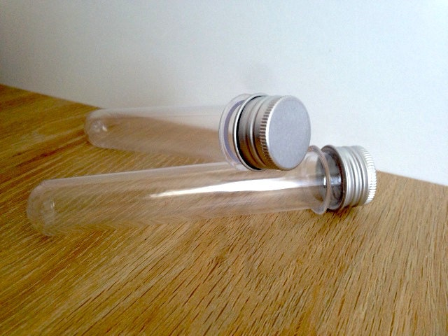 Plastic test tubes screw caps clear for lolly