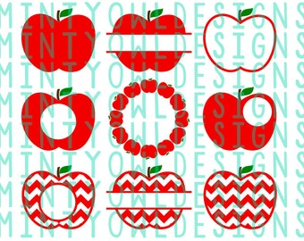 SVG DXF Cut File - Apple Monogram Frame - Teacher Gift - Chevron Apple - Split Apple - Back To School - Cricut - Silhouette - Cut Files