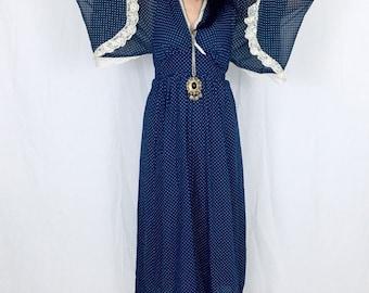 Vintage 70s Navy Blue Polka Dot Balloon Angel Poet Sleeve Bohemian Witchy Maxi Dress M // L