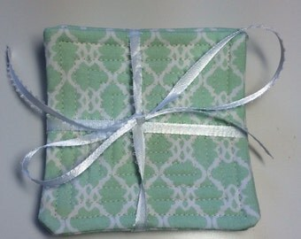 Mint Mod Quilted Coaster Set of 4