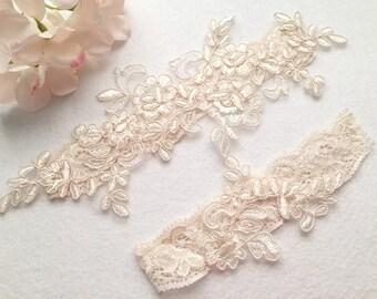 Wedding Garter , Tossing Garter,Keepsake Garter,bridal garter, champagne lace garter-C04#