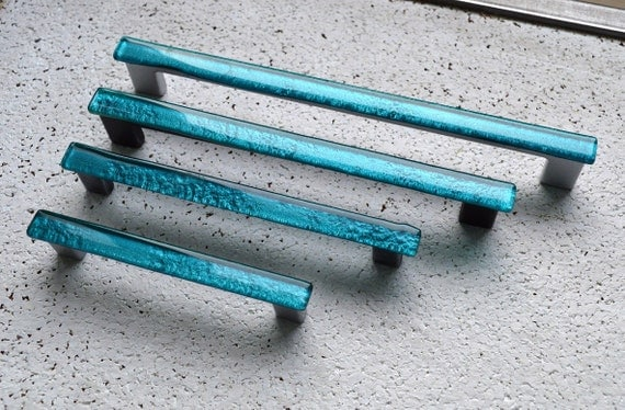 Turquoise glass cabinet pull blue fused glass pull furniture for Turquoise cabinet pulls