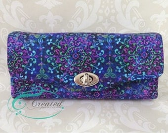 Purple and Blue Necessary Clutch Wallet