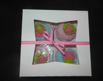 Diaper Cupcake Set- Pink and Green flowers