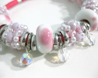 crystal bracelet, rubber bracelet, ceramic bracelet