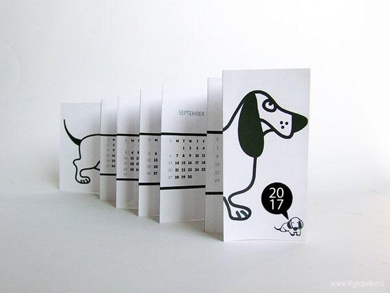 Calendario stampabile da muro o scrivania 2017 cane bassotto - Calendario da tavolo 2017 ...