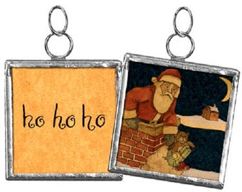 "SANTA / Chimney --- 2"" Reversible Framed Ornament Charm - Christmas"
