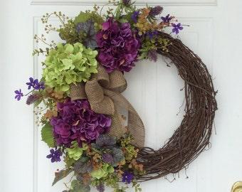 Spring Wreaths-Hydrangea Wreath-Front Door Wreath-Rustic Wreath-Mother's Day Wreath-Cottage Chic-Woodland Wreath-Summer Wreath