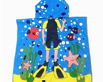 Beach Swimmer Diver Hooded Cotton Poncho Beach Towel Personalized