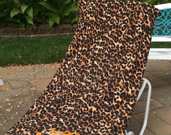 Large Oversized Beach Towel - Natural Cheetah Print - Monogrammed - Personalized Beach Towel