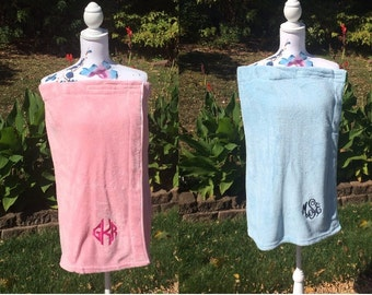 Monogrammed Plush Bath Towel Wrap - Personalized - Pink or Blue - Wedding Bride Pool Spa Robe - Women's M-L