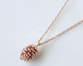 Rose gold pine cone necklace, Nature inspired, Nature necklace, Woodland necklace, Forest necklace, Winter necklace, Rose gold necklace
