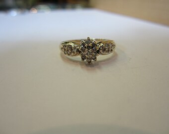 Diamond Cluster Ring, 10k Yellow Gold Cluster Ring, Dinner Ring, April Birthstone, Promise Ring, Wedding Jewellery