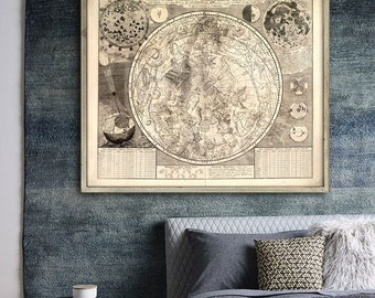 "Southern sky map 1700, Historical chart of star constellations in 4 sizes up to 45x36"" (115x90 cm) also in blue - Limited Edition - Print 5"
