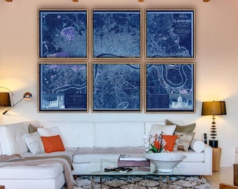 Big London Map 1830, Huge map of London, UK in 5 sizes up to 9x6 feet (275x180 cm) in 1 or 6 parts, also in blue - Limited Edition of 100