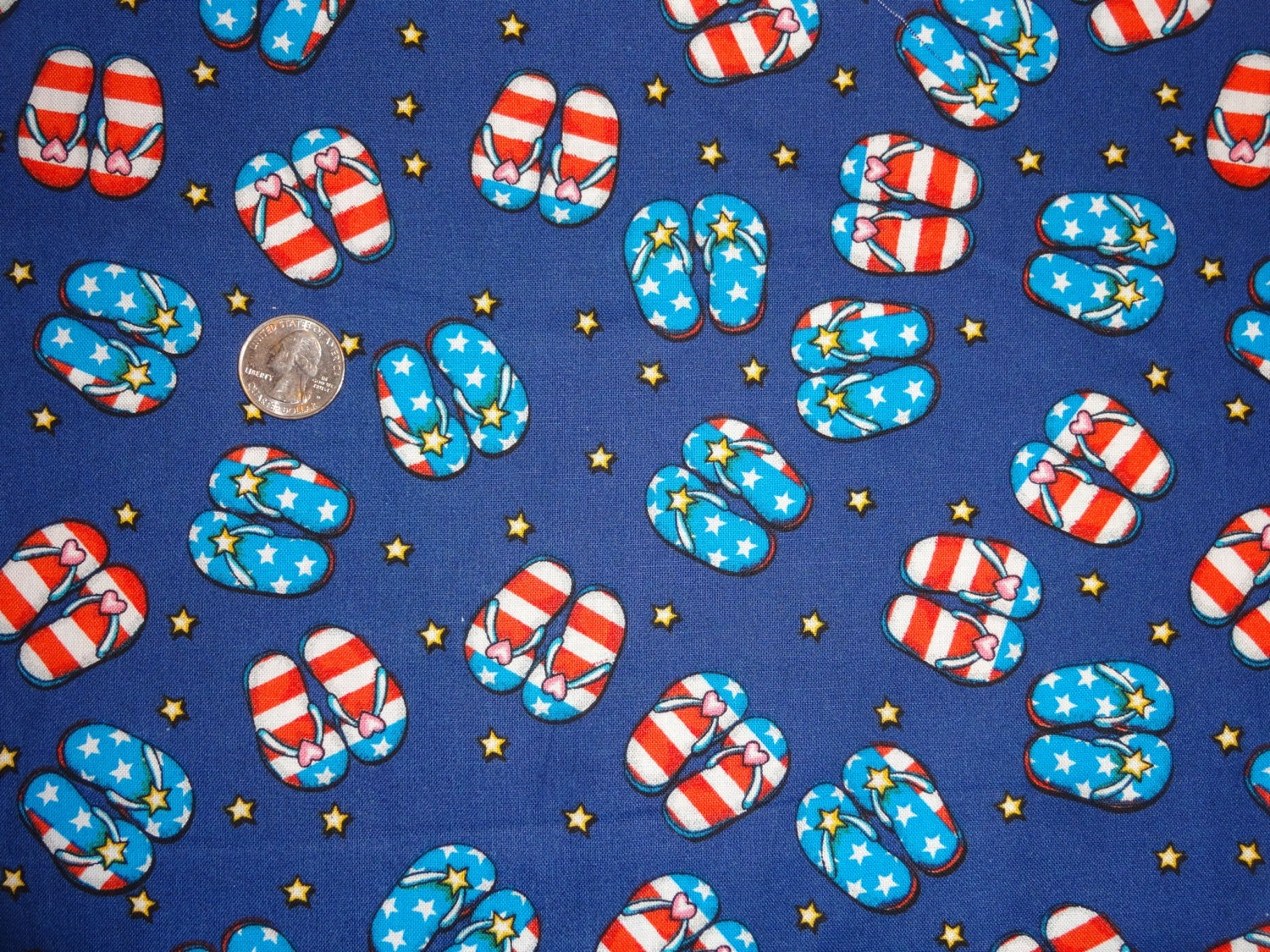 Patriotic flip flops red white blue stars stripes hearts for Star fabric australia