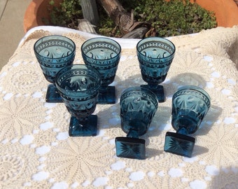 Set of Six Dark Teal Glassware