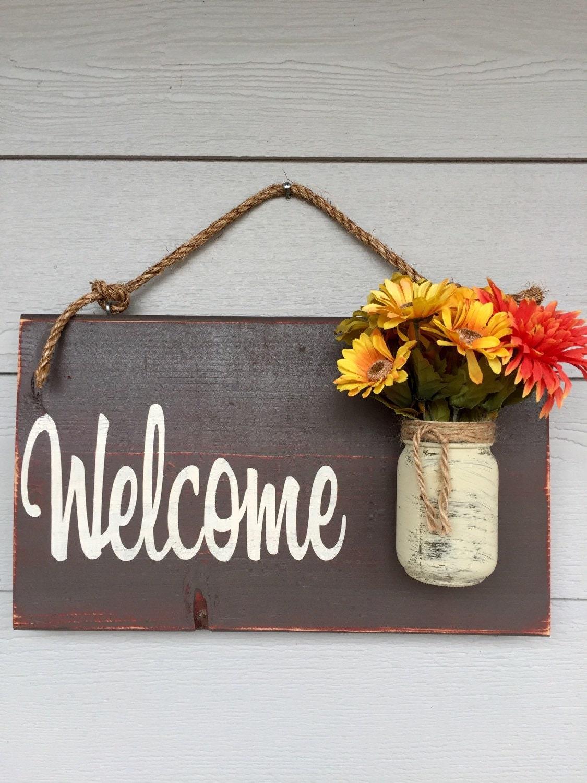 Rustic Outdoor Welcome Sign in brown Wood Signs Front Door