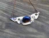 Handmade copper necklace, starry night, sky, stars, blue