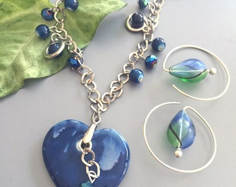 Blue Heart and Blown Glass Earrings Necklace Set
