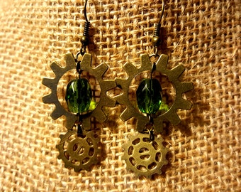 Steampunk Bronze Gear Dangles with Green Crystal Beads
