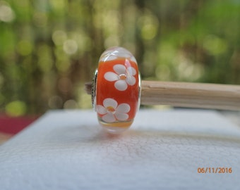 Authentic Pandora Charm Orange Tropical Flower Murano  New in Pandora Pop up Box 791624