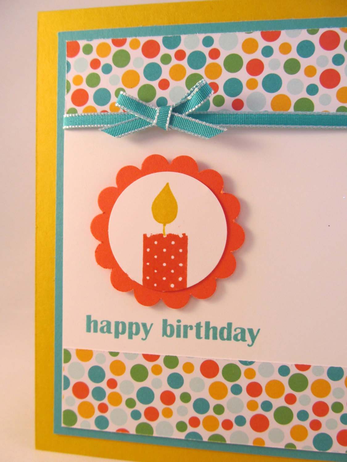 Candle Birthday Wishes Hand Stamped Happy Birthday Greetings Card