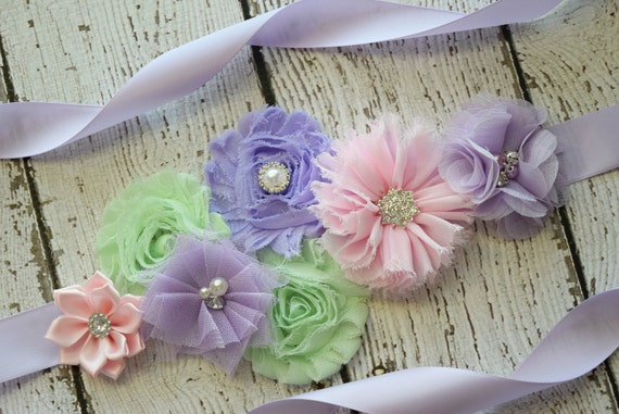Sash, Violet mint and light pink Sash , flower Belt, maternity sash
