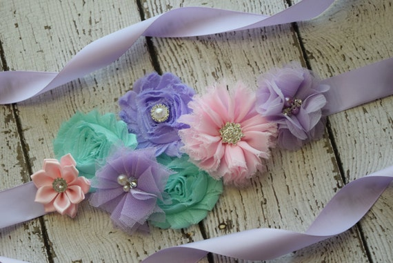 Sash, Violet aqua and light pink Sash#2 , flower Belt, maternity sash