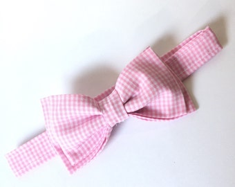 Light Pink Gingham Bow Tie -You Choose Size