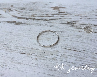 Simple Sterling Silver Twisted Ring | 2 mm Sterling Silver Ring | Thin Stacking Rings | Thin Twisted Ring | Silver Ring | Summer Jewelry