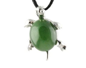 Canadian Nephrite Jade Turtle Pendant, 0099