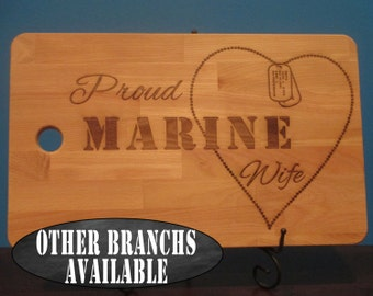 Proud Marine Corps wife, Marine wife, Marine Mom, Marine Girlfriend, dog tag chain heart personalized cutting board, marines, veteran gift