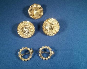 Vintage Rhinestone Earrings, Pins, & button