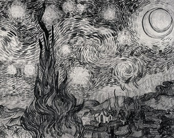 Starry Night Sketch by Van Gogh, Giclee Canvas Print