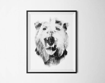 Lion and The Butterfly Poster - Modern Art Print - Wall Art - Photography Art- Limited Edition Print