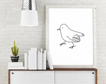 Bird Art, Minimalist Poster, Large Printable Art, Bird Wall Art, Bird Printable, Bird Print, Minimalist Drawing, Digital Download Art