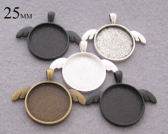 25 Pieces of Cat Ear Style Pendant Setting, 25mm Round Cabochon Setting Tray