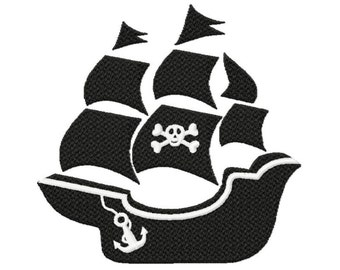 Silhouette Pirate ship... Solid Fill Machine Embroidery DESIGN NO. 645