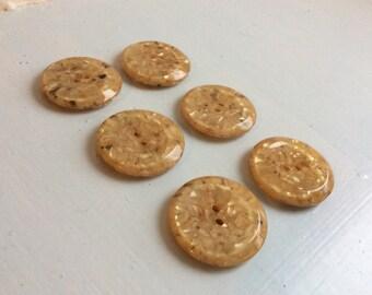 Set Of 6 Vintage Retro Confetti Lucite Buttons