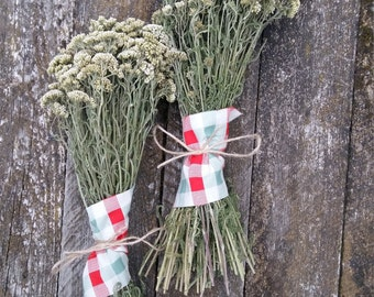 rustic dried flower bouquet yarrow achillea millefolium common magical wild herb bunch rustic home decor natural botanical herbal medicine