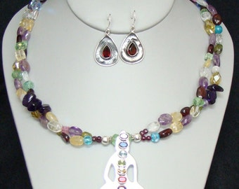 Mixed Gemstones & Silver Pendant Necklace