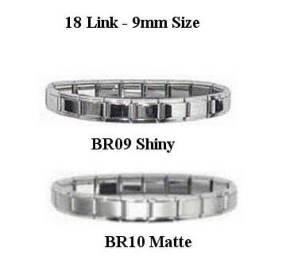 Italian Link Charm Bracelet: Italian Charm Starter Bracelets 18 Link 9mm Size Colored