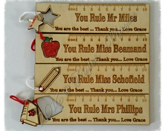 Teacher Thank You personalised ruler, Bookmarks, Keepsakes, Special gift, wooden, maths, school, teacher gift, unique, special message