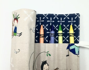 Crayon Roll Boy Birthday Gifts for Boys Arrows Crayon Holder Crayon Case Travel Games Art Storage Shop for a Cause CRAYONS INCLUDED