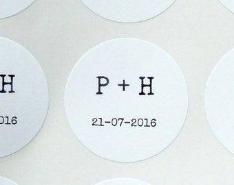 Custom personalised stickers weddings confetti bag sticker 4cm envelope seals typewriter font black and white