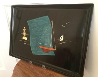 Vintage Couroc Tray Nautical Sailing