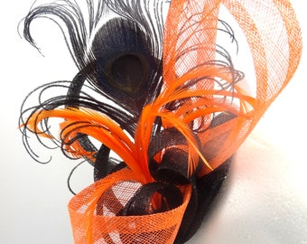 Orange and black fascinator, halloween feather hatinator headpiece