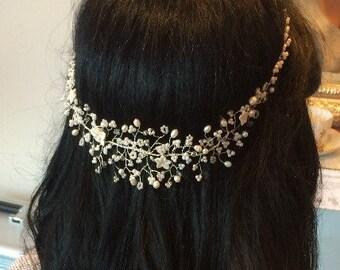 Rhiannon Bridal Pearl and Crystal Tiara, Wedding Hair Vine, Circlet, Hair Accessory, Bridesmaid, Hair Adornment, Hairpiece, Headdress